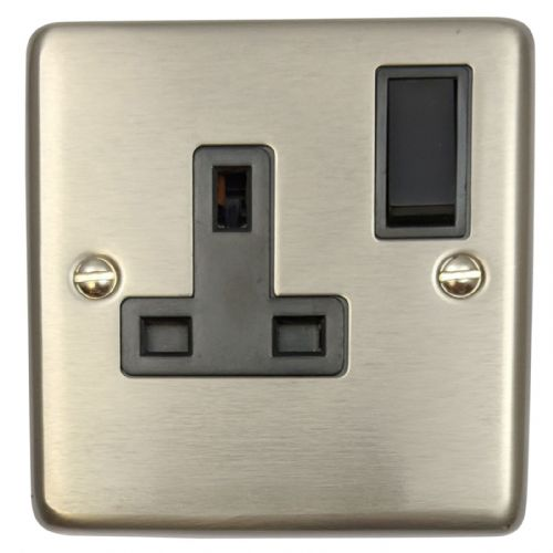 G&H CSS9B Standard Plate Brushed Steel 1 Gang Single 13A Switched Plug Socket
